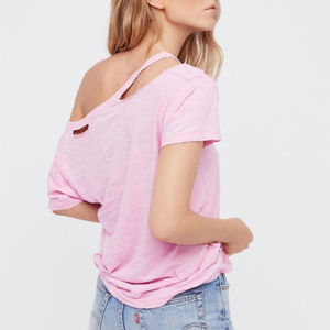 Free People Surfs Up Tee -  PINK  - Size S - NWT
